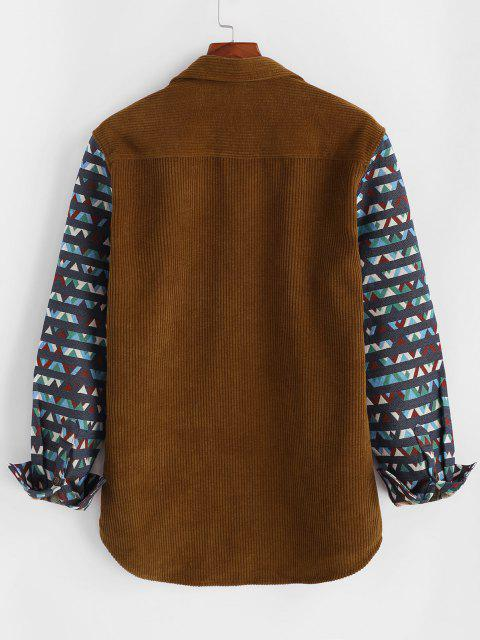 Geometric Print Pocket Corduroy Shacket - القهوة العميقة 2XL Mobile