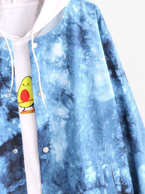 Veste Boutonnée Teintée Imprimée - Bleu S Mobile