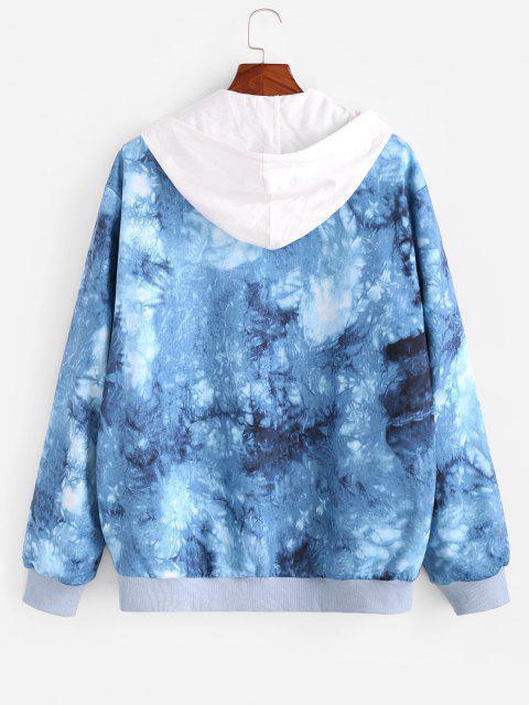 Veste Boutonnée Teintée Imprimée - Bleu 2XL Mobile