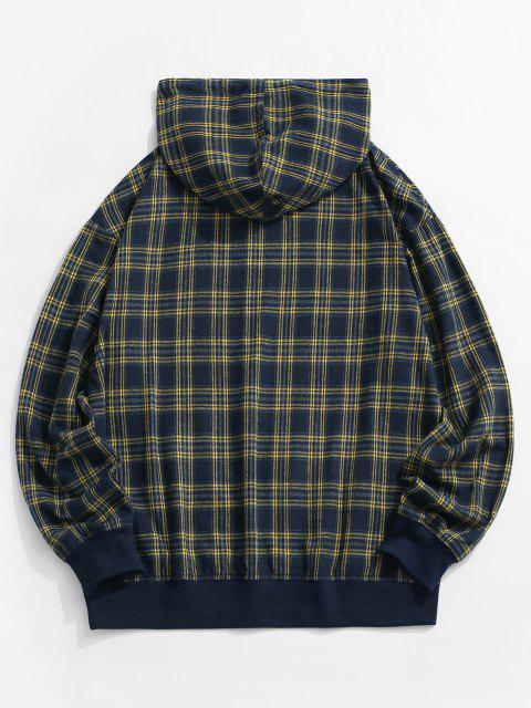 buy Plaid Print Kangaroo Pocket Hoodie - BLUE M Mobile