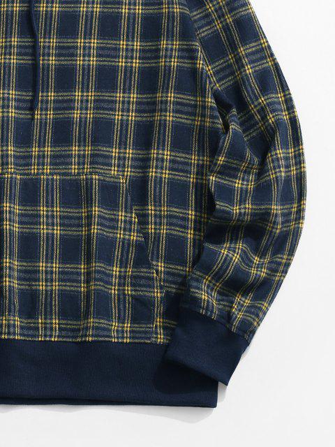 shop Plaid Print Kangaroo Pocket Hoodie - BLUE L Mobile