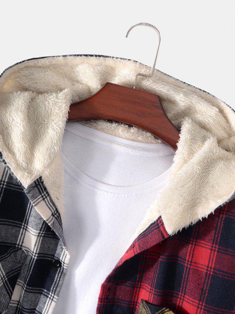 Veste à Capuche à Carreaux en Blocs de Couleurs avec Poche - Rouge foncé XL Mobile