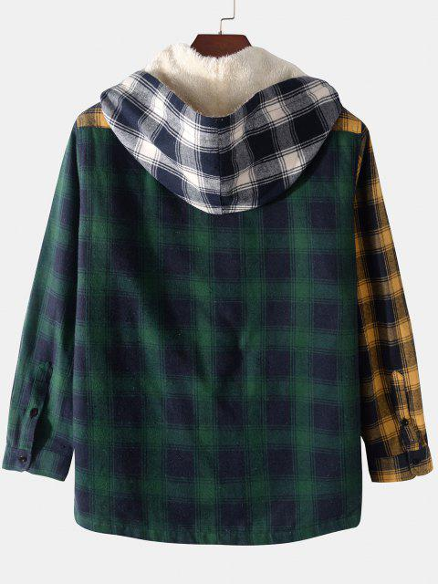 outfits Colorblock Plaid Pocket Fluffy Hooded Shirt Jacket - DEEP RED 2XL Mobile