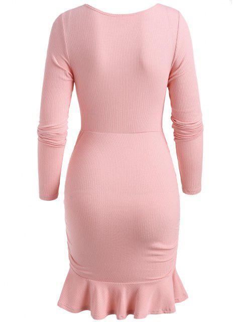 Rippen Strick Geraffte Volant Jeanshorts - Hell-Pink L Mobile