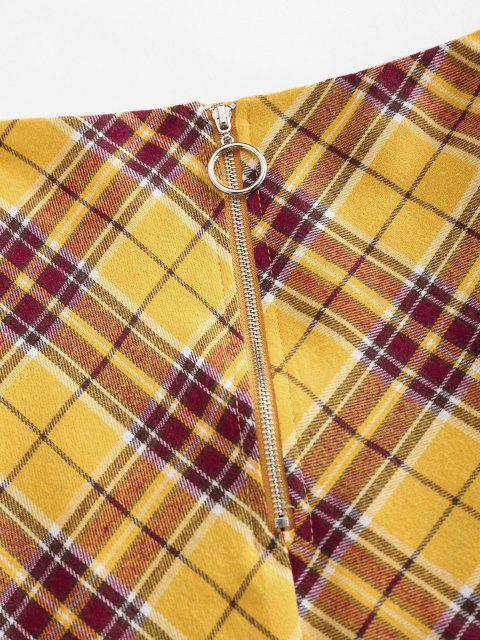 ladies ZAFUL Plaid Front Zip Mini Skirt - YELLOW L Mobile