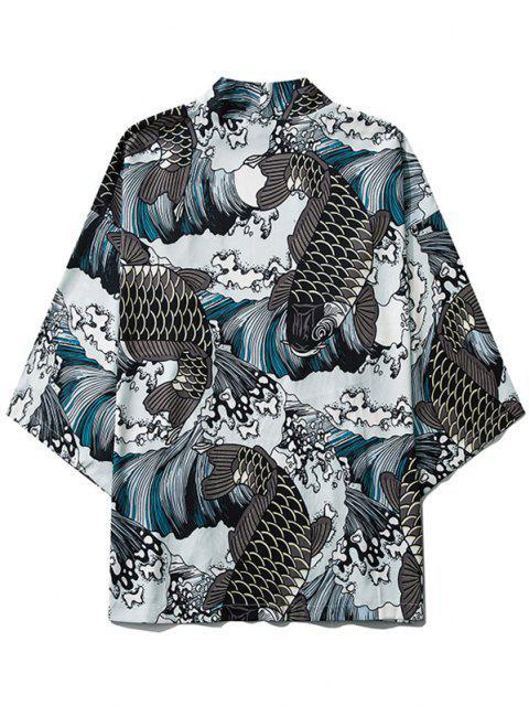 unique Sea Waves Koi Fish Open Front Kimono Cardigan - GRAY M Mobile