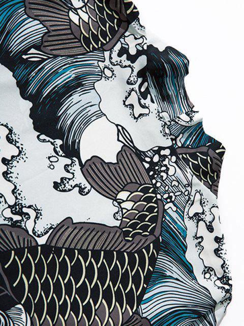 trendy Sea Waves Koi Fish Open Front Kimono Cardigan - GRAY L Mobile