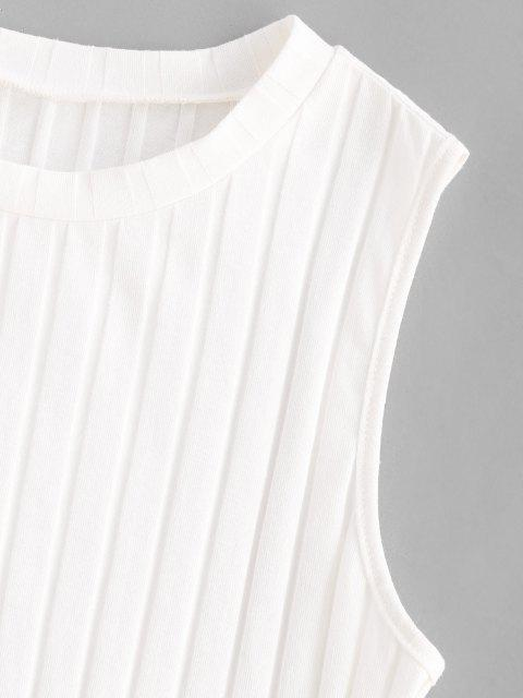 affordable ZAFUL Ribbed Lettuce Trim Crop Top - WHITE S Mobile