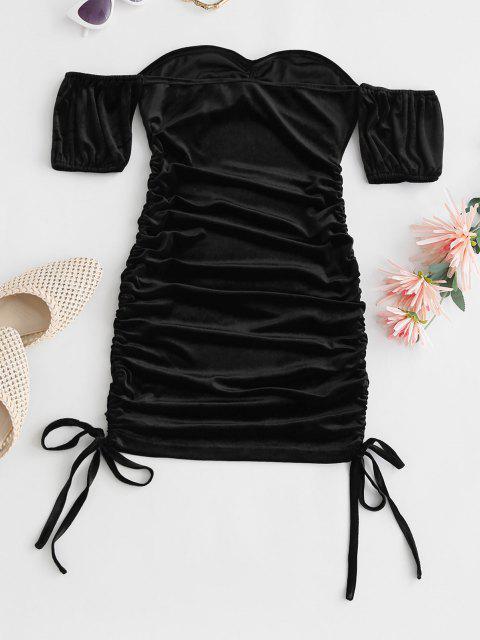 Vestido Hombros Descubierto Terciopelo Fruncido Ajustado - Negro M Mobile