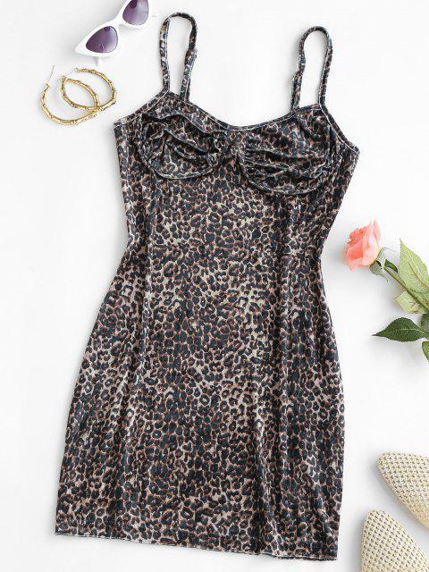lady Leopard Velvet Cupped Bodycon Dress - BLACK XS Mobile