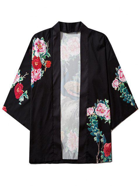 Blumen Pfau Druck Chinoiserie Kimono - Schwarz 2XL Mobile