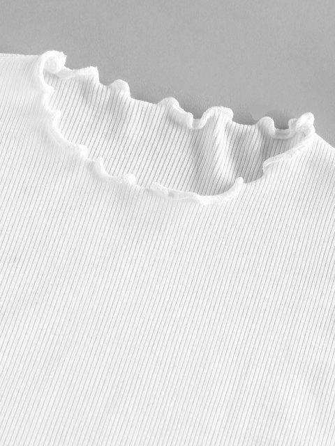 unique ZAFUL Ribbed Lettuce Trim Basic T Shirt - WHITE L Mobile