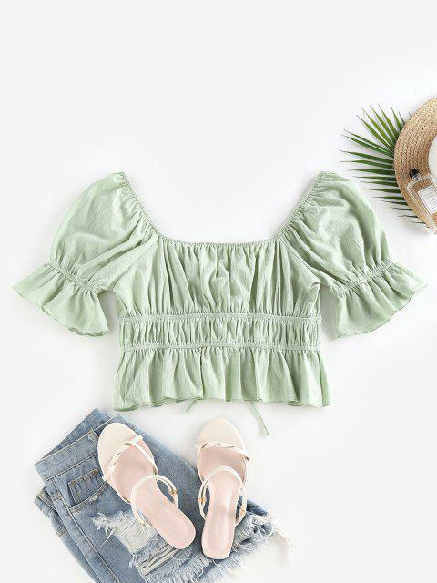 outfits ZAFUL Ruffle Lace Up Raglan Sleeve Blouse - LIGHT GREEN M Mobile