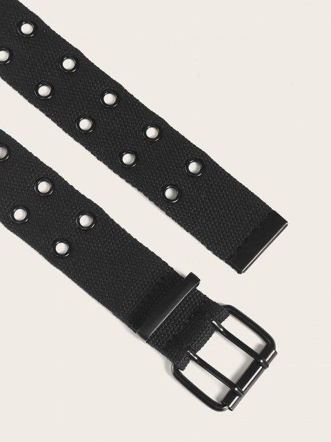 buy Double Row Grommet Canvas Belt - BLACK  Mobile