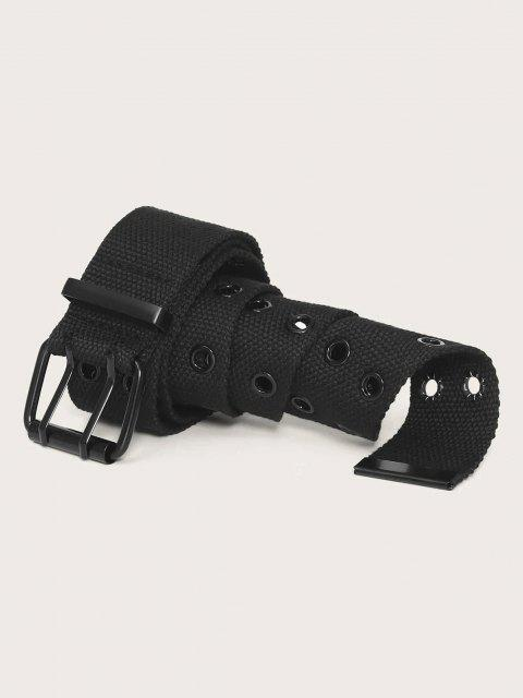Double Row Grommet Canvas Belt - أسود  Mobile