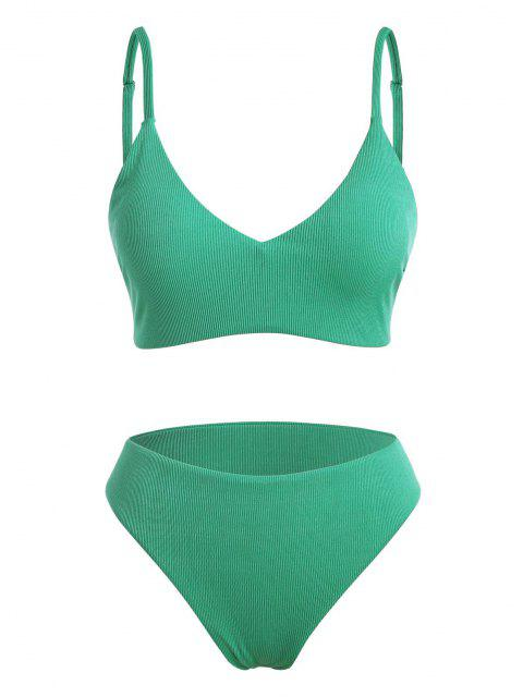 online ZAFUL Plus Size Ribbed Full Coverage Bralette Bikini Swimwear - LIGHT GREEN XL Mobile