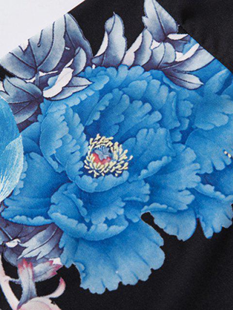 Cardigan di Chimono con Stampa Floreale e Montagna Stile Cinese - Nero L Mobile