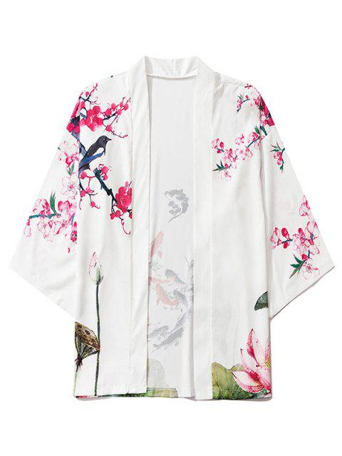 outfits Koi Fish Flower Print Chinoiserie Kimono Cardigan - MILK WHITE M Mobile