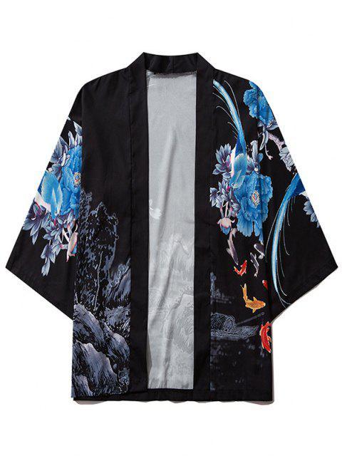 Kimono de Montaña de Chinoiserie con Estampado de Flores - Negro M Mobile