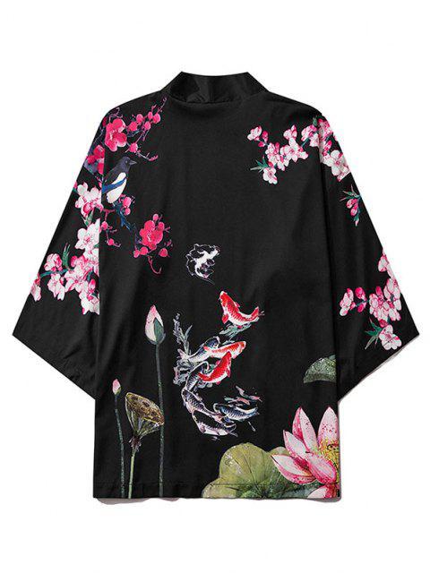 trendy Koi Fish Flower Print Chinoiserie Kimono Cardigan - BLACK M Mobile