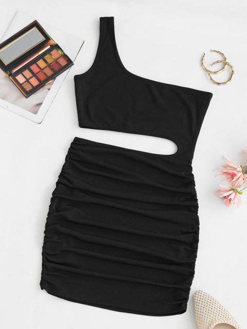 lady One Shoulder Ruched Bodycon Cutout Dress - BLACK S Mobile