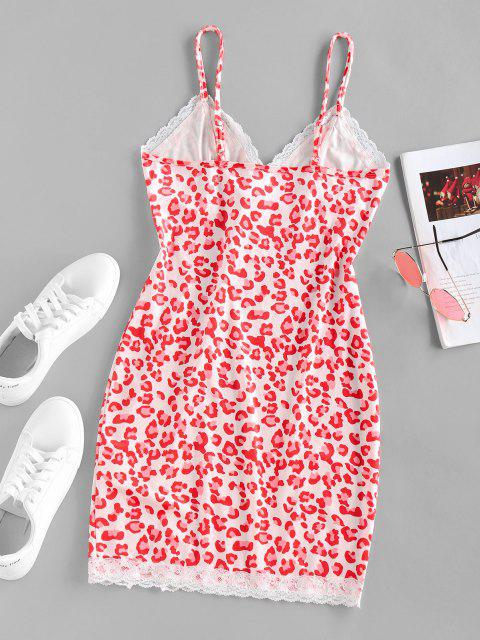 latest ZAFUL Leopard Lace Insert Slit Velvet Bodycon Dress - RED L Mobile
