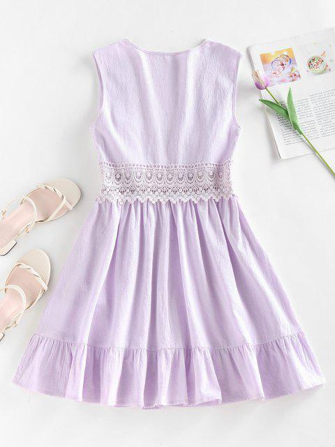 latest ZAFUL Plunging Crochet Insert Flounce Hem Dress - LIGHT PURPLE M Mobile