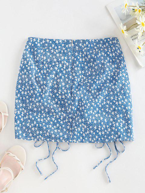 womens ZAFUL Ditsy Print Cinched Mini Bodycon Skirt - BABY BLUE S Mobile
