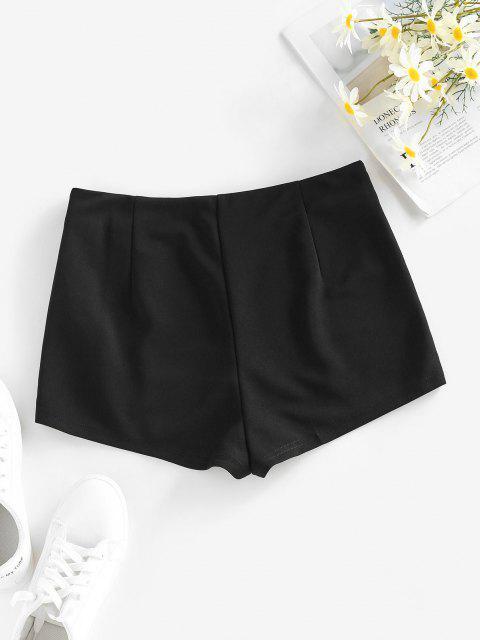 lady ZAFUL V Notched Skinny Zipper Side Shorts - BLACK S Mobile