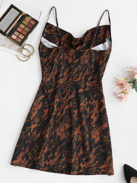 trendy Abstract Print Cowl Front Mini Dress - BLACK M Mobile