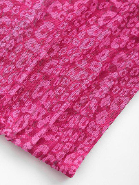 Robe Moulante Léopard en Maille à Bretelle à Volants - Rose Léger  XS Mobile