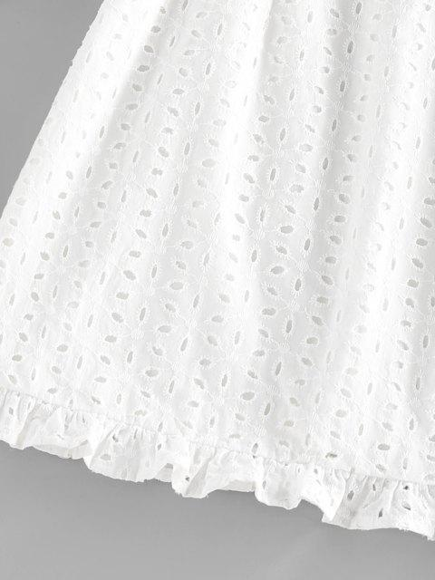 chic ZAFUL Broderie Anglaise Ruffle V Wired Mini Dress - WHITE M Mobile
