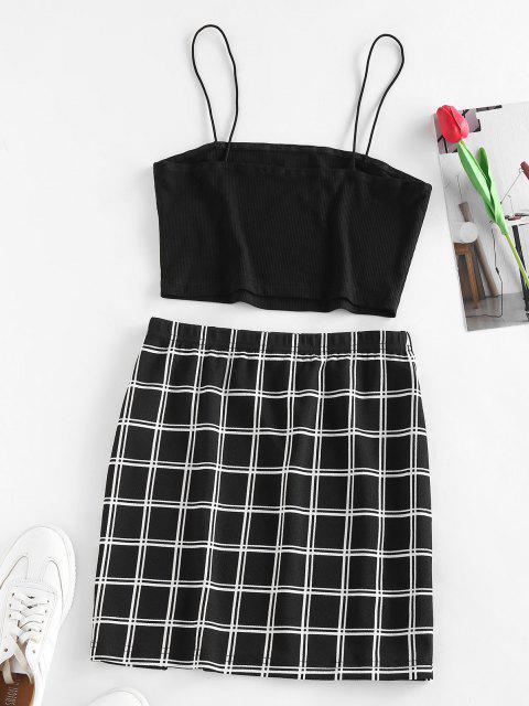 unique ZAFUL Ribbed Windowpane Check Slit Mini Skirt Set - BLACK M Mobile