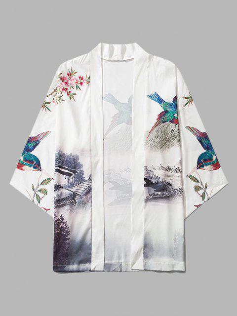 lady Chinese Landscape Paint Print Kimono Cardigan - MILK WHITE M Mobile