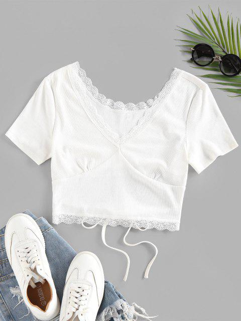 womens Back Tie Eyelash Lace Cropped Tee - WHITE S Mobile