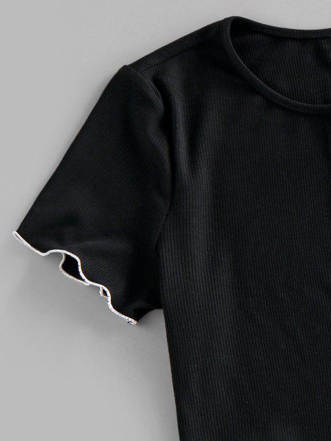 ZAFUL T-Shirt mit Geripptem Kontrast und Knopfleiste - Schwarz M Mobile