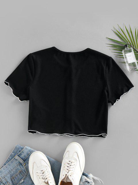 ZAFUL Ribbed Contrast Trim Button Up Crop T Shirt - أسود M Mobile