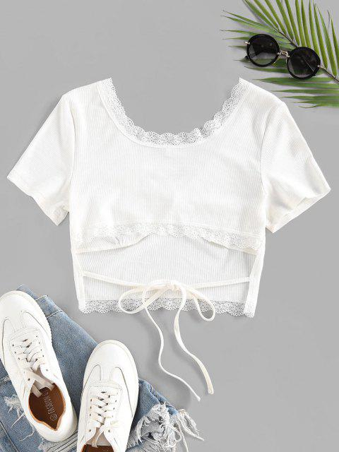 fashion Back Tie Eyelash Lace Cropped Tee - WHITE XL Mobile