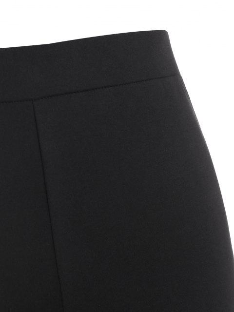 lady Zipper Fly Ruched Stacked Pants - BLACK L Mobile