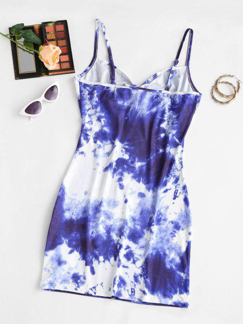 affordable Tie Dye Twisted Bodycon Cami Dress - BLUE S Mobile