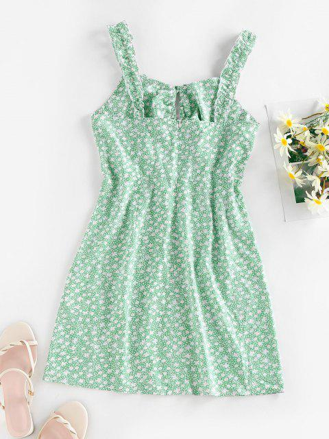 buy ZAFUL Ditsy Print Bowknot Keyhole Lettuce Strap Dress - PALE BLUE LILY XL Mobile