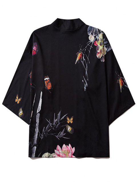 Bamboo Butterfly Floral Paint Kimono Cardigan - أسود S Mobile