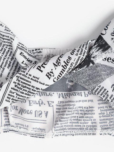 fancy Newspaper Print Twist Front Crop Top - WHITE M Mobile