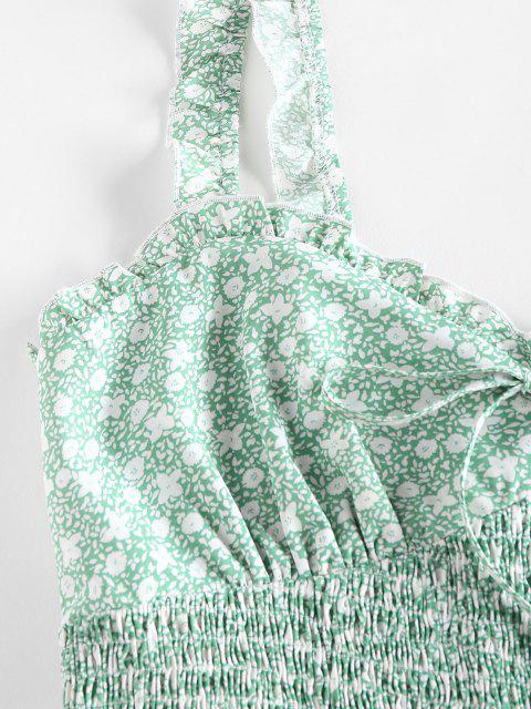 lady ZAFUL Ditsy Print Ruffle Smocked Bowknot Tank Top - LIGHT GREEN L Mobile