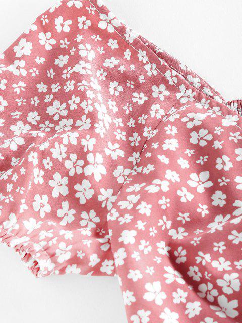 ZAFUL Ditsydruck Kittel Schößchen Bluse - Rosiges Braun L Mobile