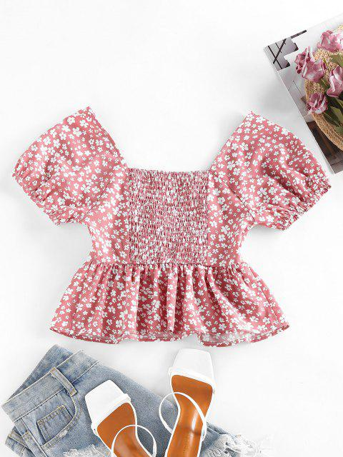 shop ZAFUL Ditsy Print Smocked Cinched Peplum Blouse - ROSY BROWN M Mobile