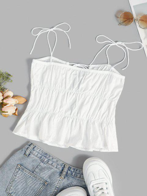 buy Ties Ruched Tiered Cami Top - WHITE M Mobile