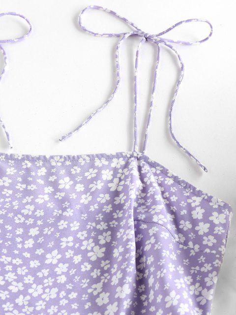 ZAFUL Gebundenes Ditsydruck Schulter Schlitz Urlaub Kleid - Helles Lila M Mobile