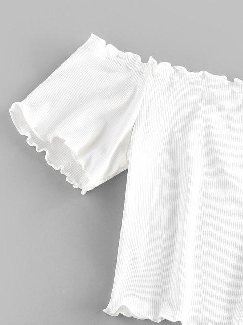 ZAFUL T-shirt Côtelé Epaule Dénudée à Ourlet en Laitue - Blanc M Mobile