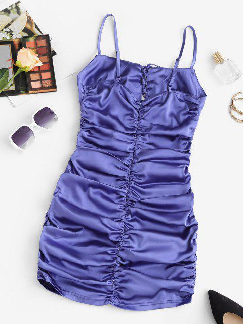 fancy Ruched Silky Lace Up Bodycon Dress - BLUE S Mobile